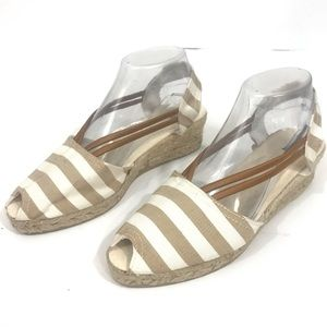 SESTO MEUCCI ESPADRILLE CANVAS PEEP TOE STRIPED